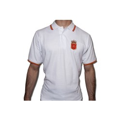 Polo BLANCO con escudo de Navarra bordado y bandera de España